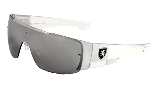 Khan Slim Sport Shield Wrap Around Sunglasses (White & Silver Frame, Silver Mirror Lens)