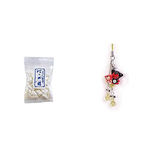 [2点セット] シルクはっか糖(150g)・さるぼぼペアビーズストラップ 【緑】/縁結び・魔除け//