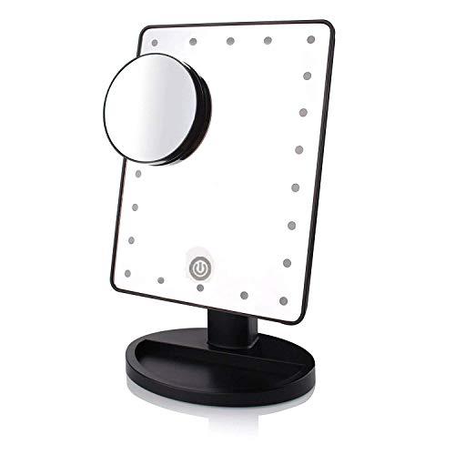 BD.Y Miroirs de Maquillage Lumière LED Naturelle Miroir Pliant 360 degrés 10X Miroir grossissant Flexible Rotatif