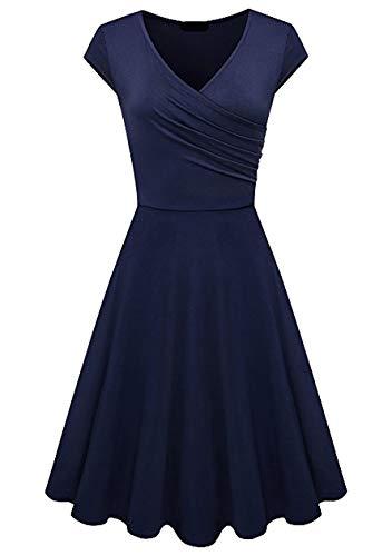 OMZIN - Vestido de mujer con escote en V, elegante, con mangas de alas, sexy, para cóctel, hasta la rodilla, informal, para fiestas azul marino M