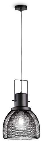loxomo - metalen hanglamp in korfstijl, Ø 28 x 150 cm, hanglamp van metalen rooster, plafondlamp voor woonkamer, eetkamer, tot max.60W, decoratieve lamp met E27 stopcontact, IP20, zwart