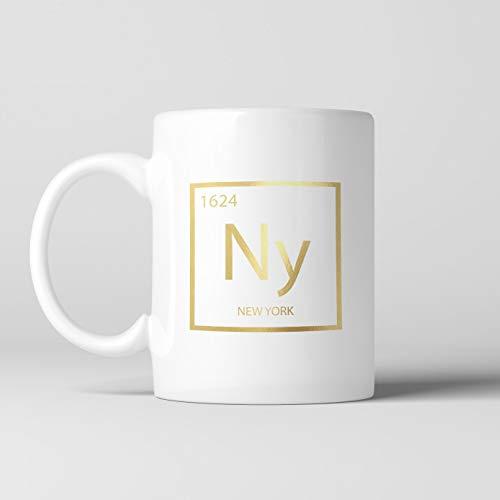 Coffee Mup - Taza de café New York Element, Taza NY, Negro, Ciencia, Elegante Taza de cerámica con Tabla periódica