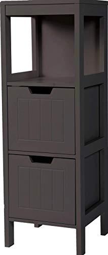 Etnicart – Mueble de baño de madera wenge MDF 30 x 30 x 89 cm ahorra espacio armario multiusos decoración baño armario dos cajones 3 estantes contenedor multiusos