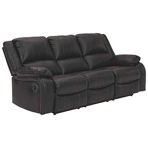 Signature Design by Ashley - Calderwell Contemporary Faux Leather Reclining Sofa - Pull Tab...