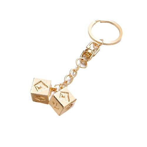1pc Golden Cube Bag Charms Kreative Frauen-mädchen Keychain Chic Lucky Dice Schlüsselanhänger Multifunktionale -Geldbeutel Dekoration Schlüsselanhänger