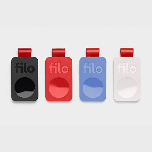 Localizzatore FiloTag 2021 - Trova Oggetti Persi tramite App. Keyfinder e Tracker Bluetooth. Misure: 25x41x5mm. Made in Italy by Filo srl (Pack da 4, Colori Nero Bianco Rosso Blu)