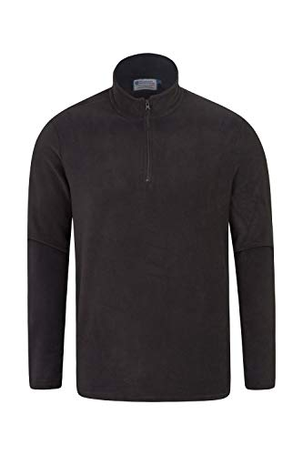 Mountain Warehouse Mens Camber Fleece Top - Lightweight Top, Breathable Sweater, Quick Drying Pullover, Extra Ventilation - Ideal for Winter Walking Black X-Large
