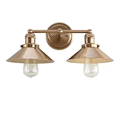 """JONATHAN Y JYL7430A August 17.5"""" 2 Metal Shade Wall Sconce for Bedroom Livingroom Bathroom, Contemporary Transitional, Bulb Included Vanity Lighting, Brass Gold"""