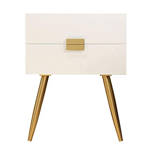 LBSX Nightstands 2 Drawers,Bedside Table with 4 Metal Legs,Rectangular Fashion 3 Color (Color : White)