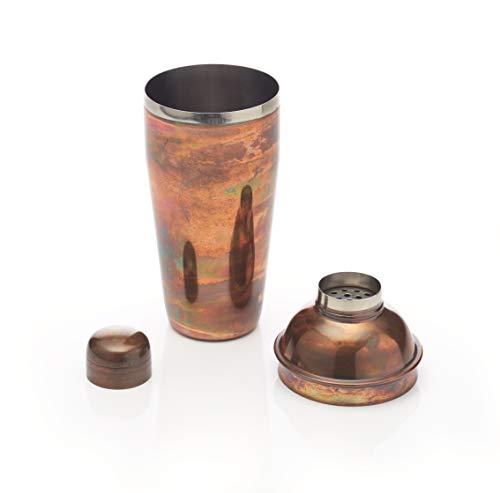BarCraft, Luxuriöser Cocktail-Shaker, Deluxe-Cocktail-Shaker für die Zubereitung von Mixgetränken in Geschenkbox, 700 ml – Schillernde Kupferartige Oberfläche