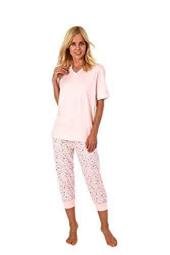 Normann Germany Damen Capri-Pyjama mit Knopfleiste, Kurzarm, Uni, Hose Allover, Hellblau, 63337, Gr. XL 48/50