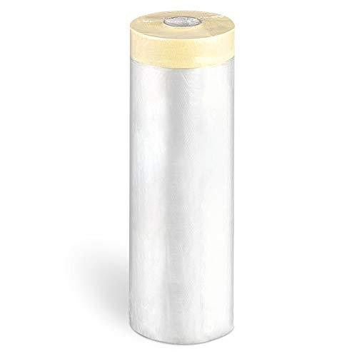 FUSIYU Plástico de Protección con Cinta Adhesiva 6 Pack 180cmx20m,Total 120M,Cubierta con Cinta Pintor,Rollo de Plástico con Cinta,Cinta para Pintar Grandes Áreas Papel de Enmascarar Cinta+Plástico