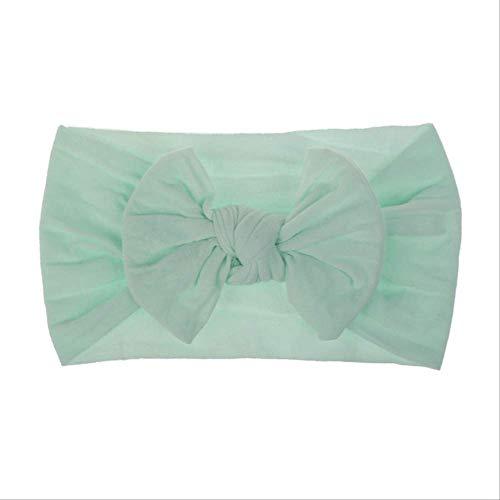 WSMWSM 21 Farben Baby Bow Nylon Stirnband für Mädchen Spring Kids Soft Elastic Round Head Wrap Neugeborene Bogen Haarband Haarschmuck Mint