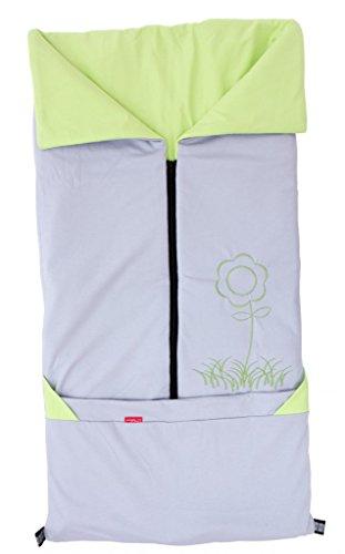 ByBoom- Sommer-Kinderwagen Fußsack 2in1; Universal Fußsack und Decke für Babyschale, Autokindersitz, z.B. für Maxi-Cosi, Römer, Buggy, Babybett, Farbe:Grau/Limette
