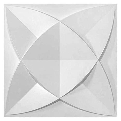 Dekorative 3D Wandpaneele Wasserdichtes haltbares PVC Strukturierter 3D Wandgestaltung, für Wohnzimmer Schlafzimmer Hintergrund Wanddekoration (10Panels, Sub-Weiß, 27 Sq Feet)