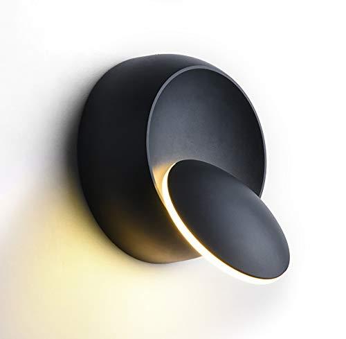 360 graden draaibaar verstelbare led-nachtkastverlichting, 6 W aluminium zwart creatief warm licht waterdichte wandlamp moderne bevestiging aan binnenverlichting