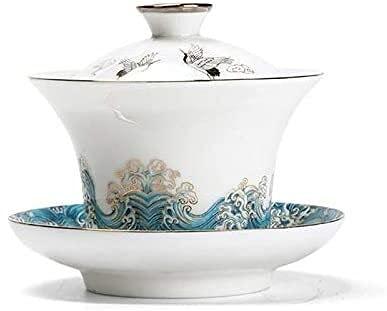 HKAFD 120 Ml of Ceramic Cup Set White Ceramic Cup Set White Porcelain Cover Wanzhao Enamel Tea Bowl Spray Travel Tea Set