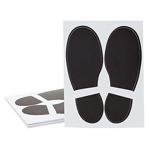 Juvale Fußabdruck-Aufkleber (Set, 32 Paar) - Selbstklebende Markierungsfüße, Bodenmarkierung Fußform, Bodenaufkleber - Ideal für Schule, Tanzstudio, Partyzubehör - Schwarz, 18 x 6,6 cm