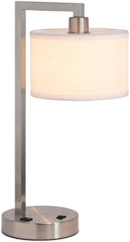 XiNBEi Lighting Table Lamp Desk Lamp with USB and Fabric Shade Modern End Table Lamp Brushed product image