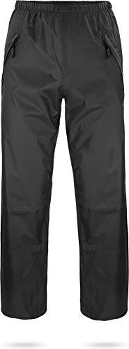 normani Unisex Regenhose 6000 mm wasserdicht, Winddicht und atmungsaktiv mit Reißverschlusstaschen für Damen und Herren Farbe Dunkelschwarz Größe M