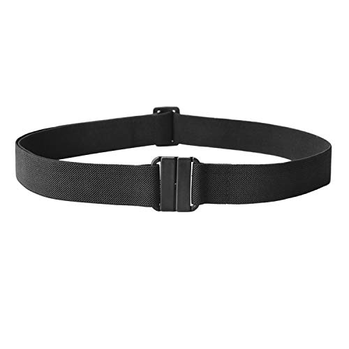 No Show Women Stretch Belt Invisible Elastic Web Strap Belt with Flat Buckle for Jeans Pants Dresses(US Size 0-16, 01-Black)