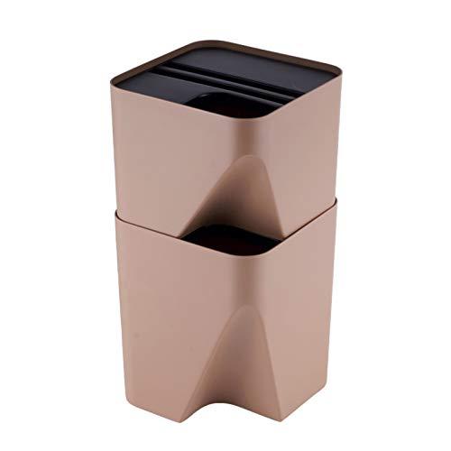 KGDC Mülleimer Stapelbare Trash Can kreativer Plastik Abfalleimer mit Deckeln Einfachen Haushalt Platz Abfalleimer, 2 Farben, 2,6 Gallonen / 3,9 Gallonen Abfalleimer fürs Bad (Size : Brown-10L+15L)