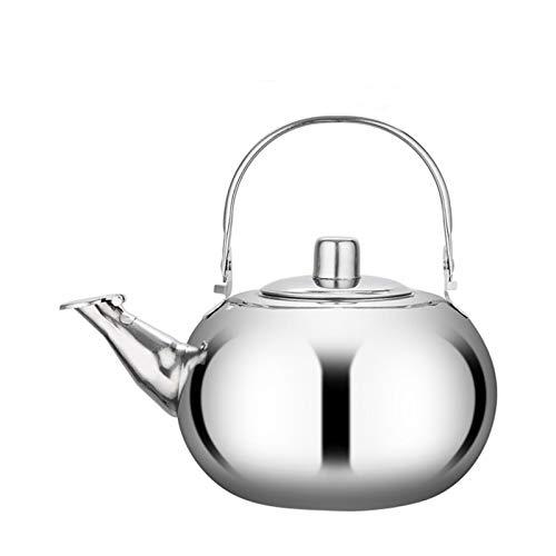 Bollitore da tè in acciaio inox, con manico rotondo in acciaio con filtro ad iniezione, perfetto per tè e caffè (dimensioni: 1 L)