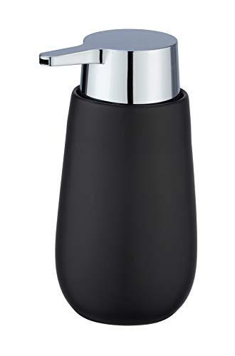 WENKO Seifenspender Badi - Flüssigseifen-Spender, Spülmittel-Spender Fassungsvermögen: 0,32 l, Keramik, 9,5 x 16 x 8 cm, schwarz