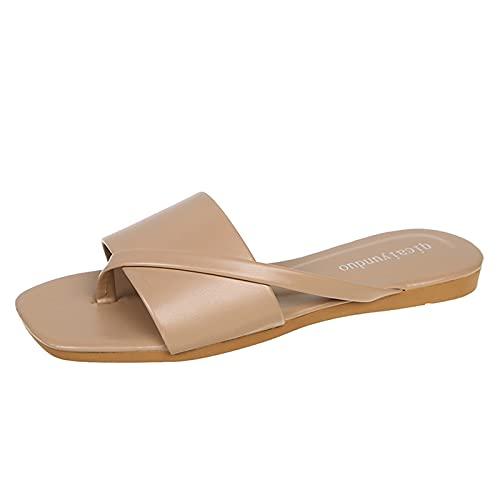 ciabatte morbide donna sandali con tacco donna scarpe sposa tacco largo infradito pelle donna ciabatt mare sandalo plateau cuoio scarpe donna tacco (34D-Beige,38)