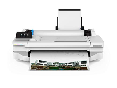 HP DesignJet T130 61 cm 5ZY58A, unterstützt Formate A1 bis A4, Geschwindigkeit 70 Seiten A1 pro Stunde, Fast Ethernet, USB Hi-Speed 2.0, WLAN, Weiß, Schwarz