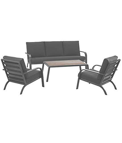 Dehner Muebles de jardín Lounge Boston, 4 Piezas, Aluminio, Color Negro.