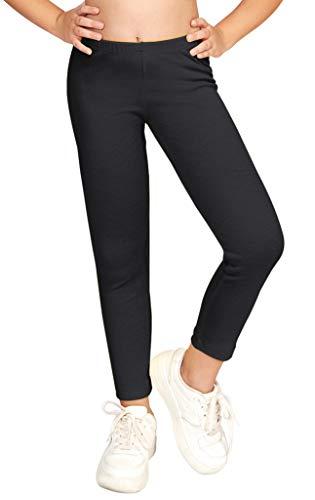 CAOMP Girls'%100 Organic Cotton Leggings for School or Play (7-8, Black)