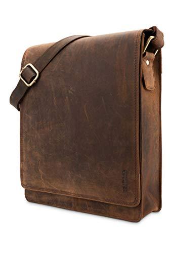LEABAGS London Leder-Umhängetasche I Laptoptasche bis 13 Zoll I Messenger Bag aus echtem Büffel-Leder im Vintage Look I Schultertasche I Arbeitstasche I 26x8x31cm (Rouge)