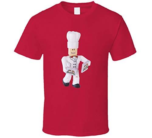 Roblox Work at A Pizza Place Chef Figurita Videojuego Camiseta Rojo