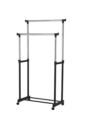 Bahob Heavy duty Lightweight Height Adjustable Double Pole Clothes Garment Rack Storage Hanging Rail with Wheels, 20kg Load