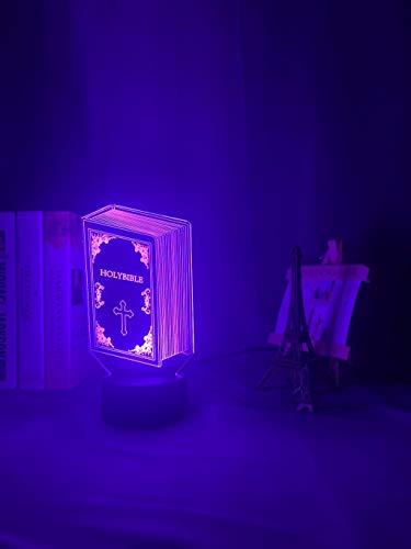 Lámpara de luz nocturna acrílica 3d Libro Biblia Libro Decoración de dormitorio Regalo especial Lámpara de mesa USB