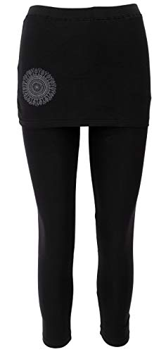 Guru-Shop Yoga-Hose, Leggings mit Minirock Bio BW Yogi- Schwarz, Damen, Baumwolle, Size:L (40), Shorts, Leggings Alternative Bekleidung