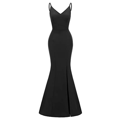 Women's Bodycon Mermaid Evening Cocktail Long Dress Sleeveless Halter Neck A-Line Casual Party Dress Evening Gown Black