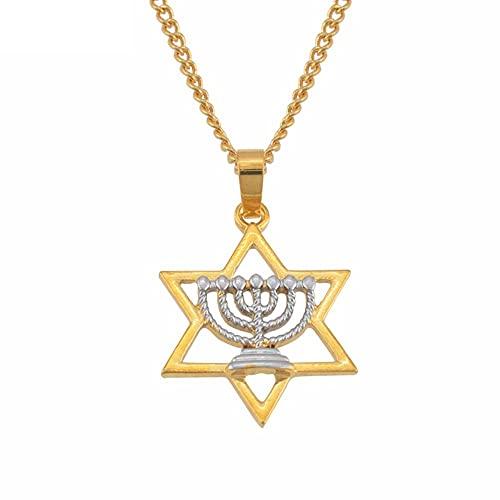 Collar con colgante de símbolo del judaísmo para mujeres Israel seis símbolos Menorah Hanukkah Jewelry Two Tone-50 cm