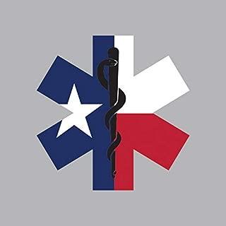 Texas State Shaped EMT Flag Sticker Vinyl Decal Sticker Die Cut EMS Paramedic TX Made in USA