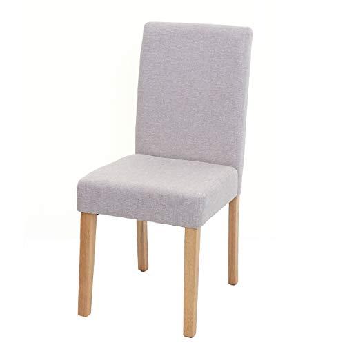 Mendler Esszimmerstuhl Littau, Küchenstuhl Stuhl, Stoff/Textil - Creme-beige, helle Beine