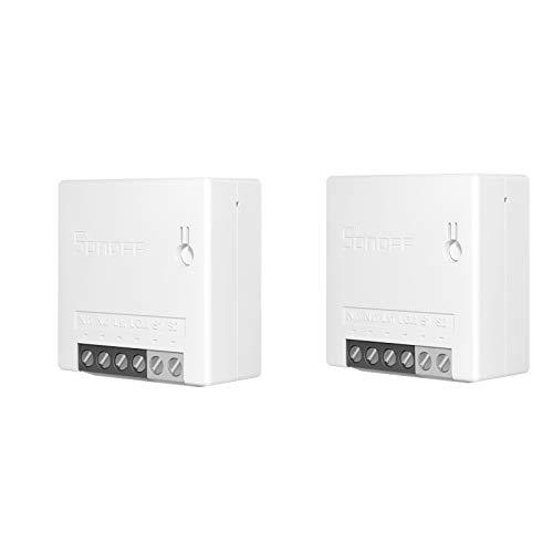Sonoff Mini 2PCS Interruttore Fai-da-Te Smart Switch Piccolo Corpo Telecomando Interruttore WiFi Supporto Interruttore Esterno Funziona con Google Home/Nest IFTTT e Alexa
