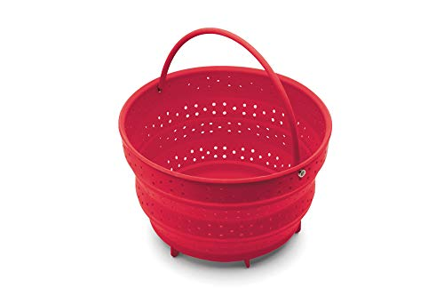 Fox Run Collapsible Silicone Steamer Basket Insert for Instant Pot, 6-Quart, Red