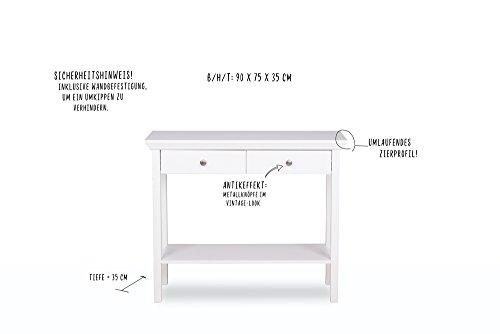 Konsole in weiß mit 2 Ablageflächen und 2 Schubkästen, Griff-Knöpfe in Antik-Optik, umlaufende Profilleiste, Maße: B/H/T ca. 90/75/35 cm - 7