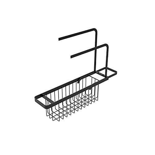 Jskdzfy Estante de Secado Black Telescopic Fregadero Drenaje Rack Sponge Almacenamiento Portaje Grifo Soporte Jabón Desagüe Estante Canasta Organizador Cocina Accesorios de baño (Color : Schwarz)