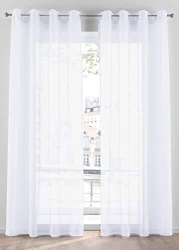 Tenda Zara Bianco Trasparente Occhielli Alluminio Tessuto Morbido per Camera e Salotto 140x300 cm n 1 Pannello