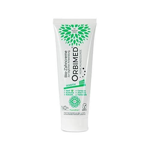 ORBIMED Bio-Zahncreme SENSITIV (1x75ml), minzig-süßlicher Geschmack, Bio Zahnpasta, Vegan, Fluoridfrei, bei homöopathischer Behandlung, Naturkosmetik
