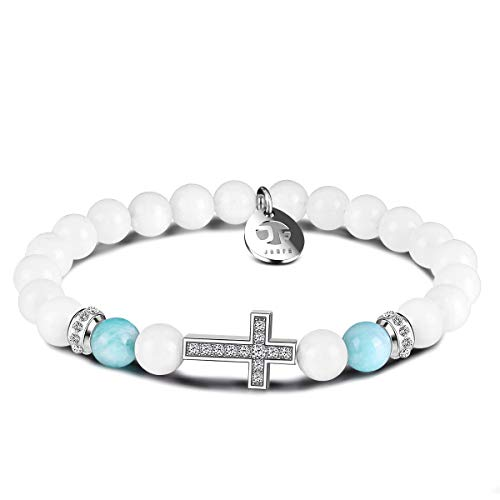 Cross Beaded Distance Bracelet for Mens Women, JOXFA Unisex Friendship Relationship Couples Bracelet 8MM Natural Stone Beads Serenity Prayer His and Hers Charm Healing Bracelets Jewelry Gift (White)