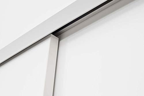 Rahmenlose Holzschiebetür in Weiß | Maße des Türblattes: 900 x 2035 mm | Inkl. Beschläge und einer oberen Laufschiene in 2 Metern | Geeignet als Zimmertürersatz - 5