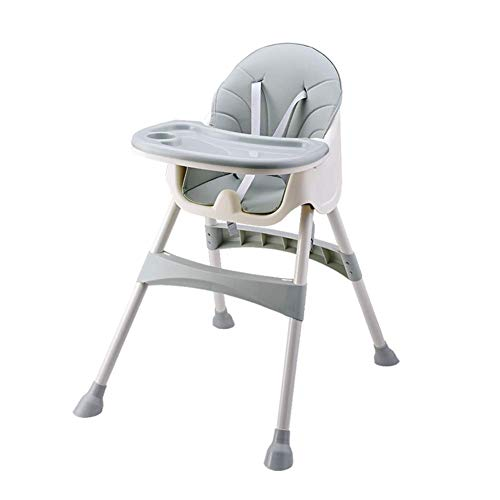 Trona para bebés y niños pequeños, con bandeja extraíble, arnés de 5 puntos y patas de altura ajustable, silla de comedor fácil de montar para niños y niñas de 6 meses a 4 años, Azur